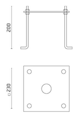 LED Strahler Frinco Pfahl zum Eingraben Abmessung