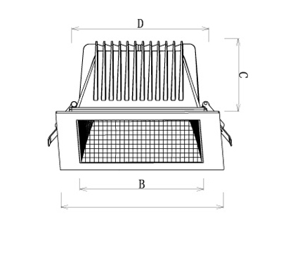 LED Downlight Xela Square Abmessungen
