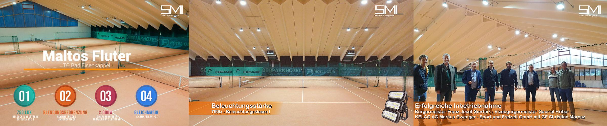 LED Flutlicht Tennishalle Bad Eisenkappel mit 750lx Beleuchtungsklasse I