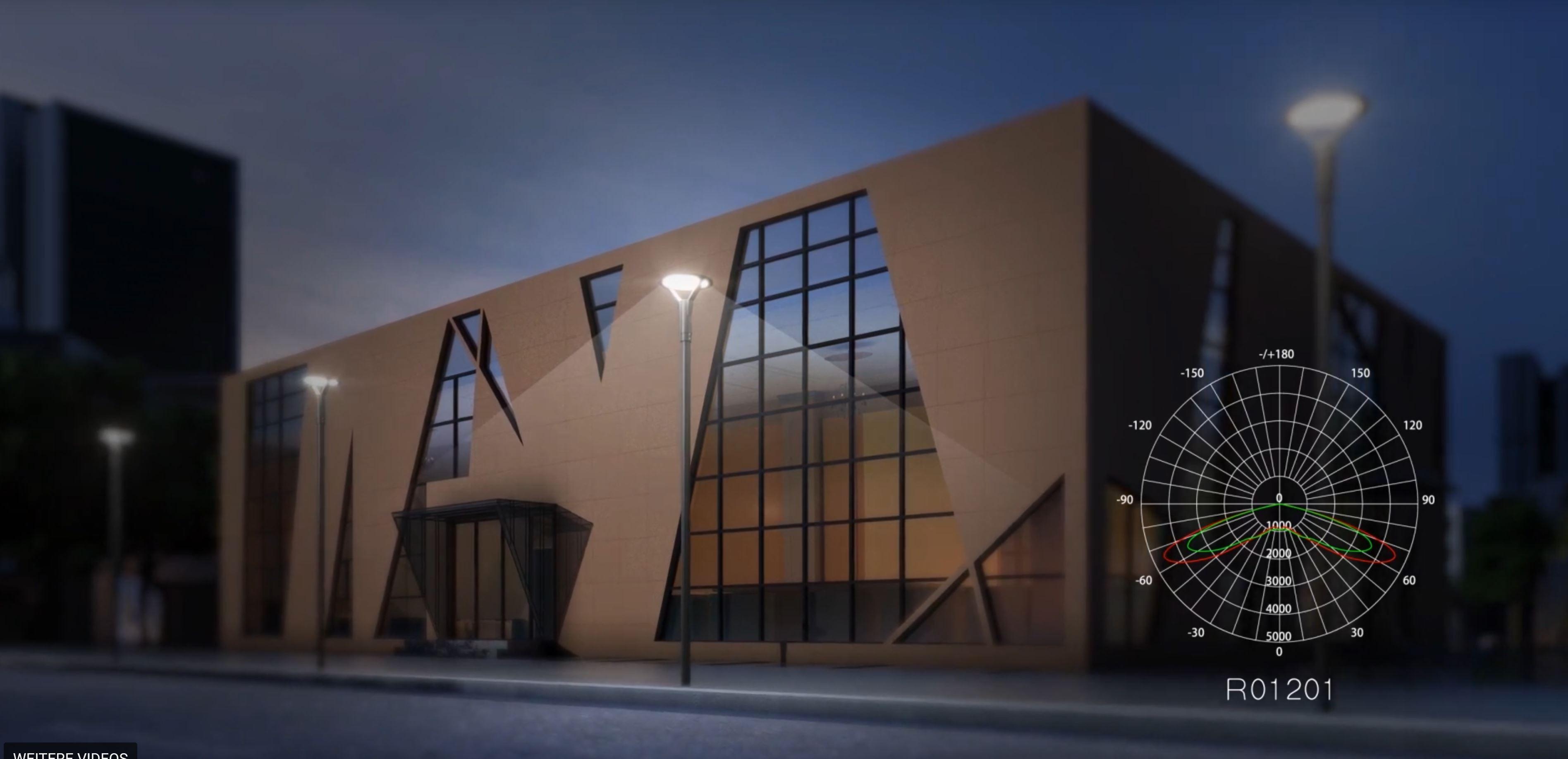 LED Mastaufsatzleuchte Paris symmetrischer Abstrahlwinkel