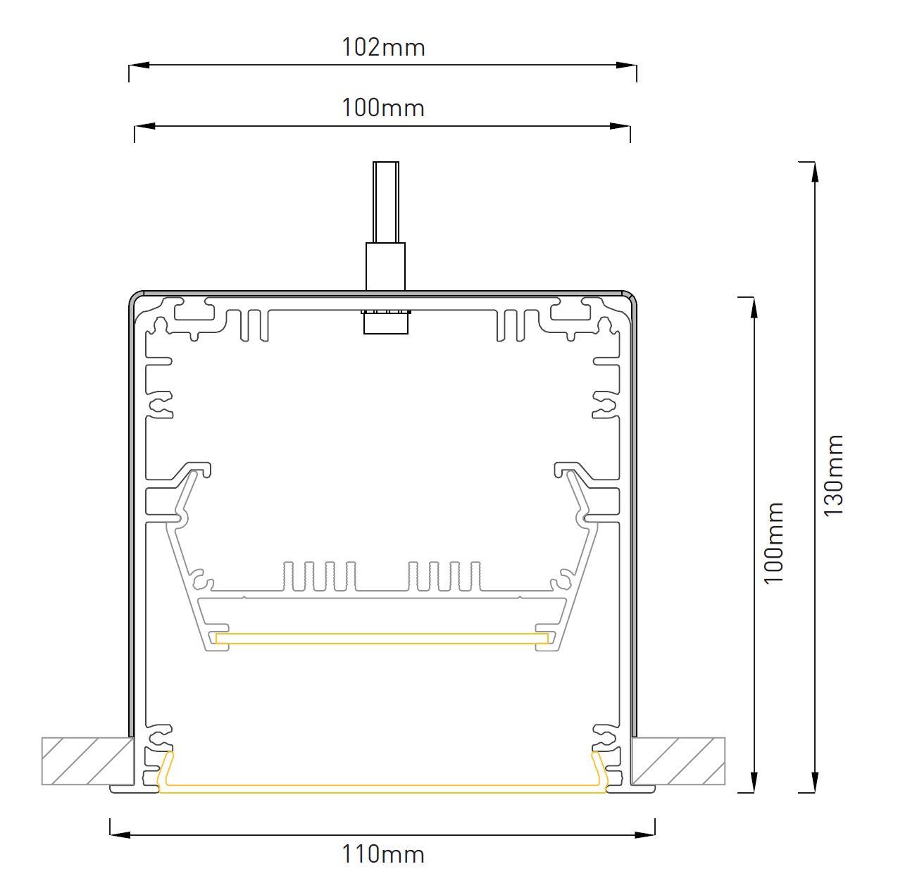 LED Profilleuchte Slot M LTE100 Abmessung