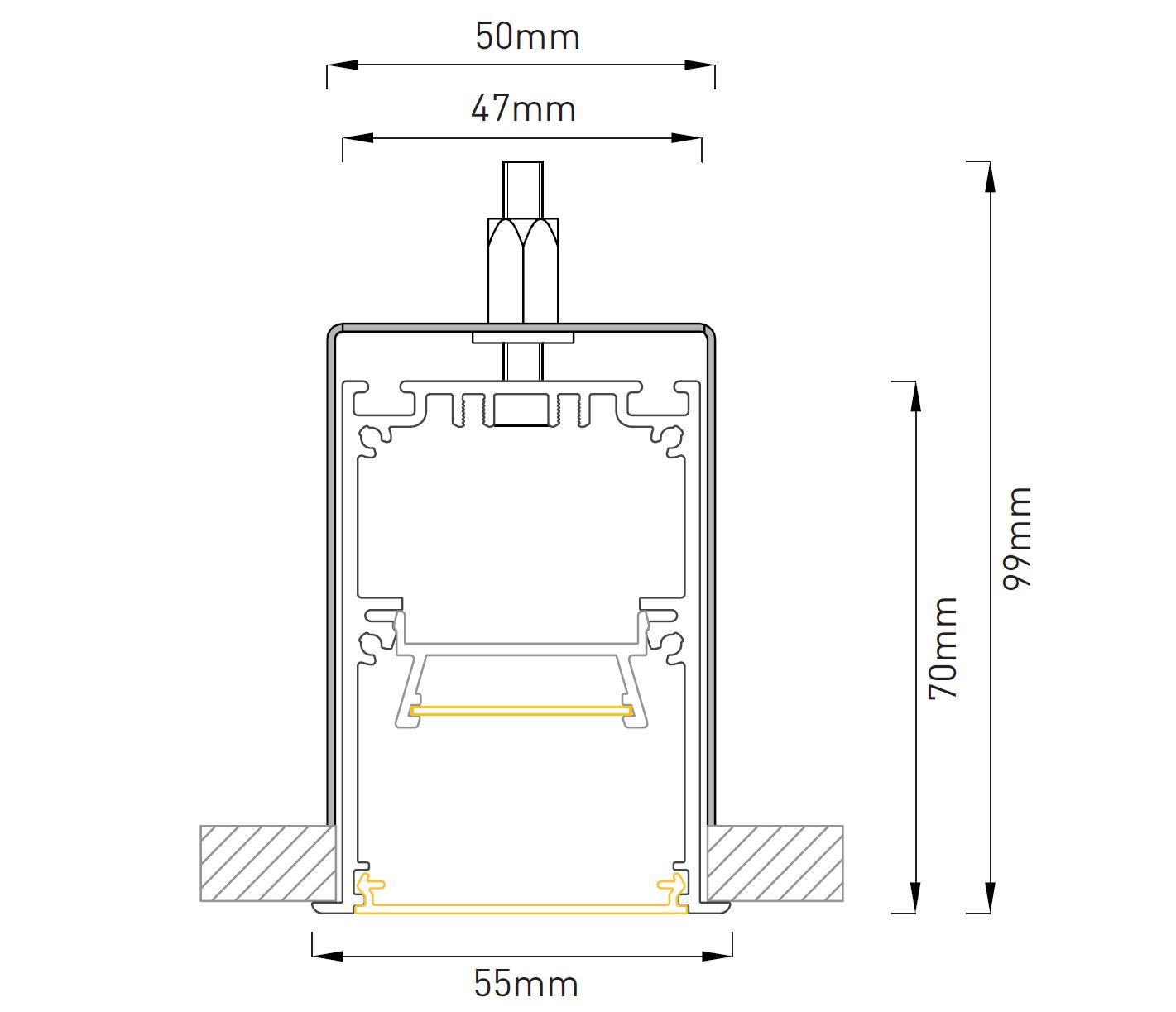 LED Profilleuchte Slot M LTE60 Abmessung