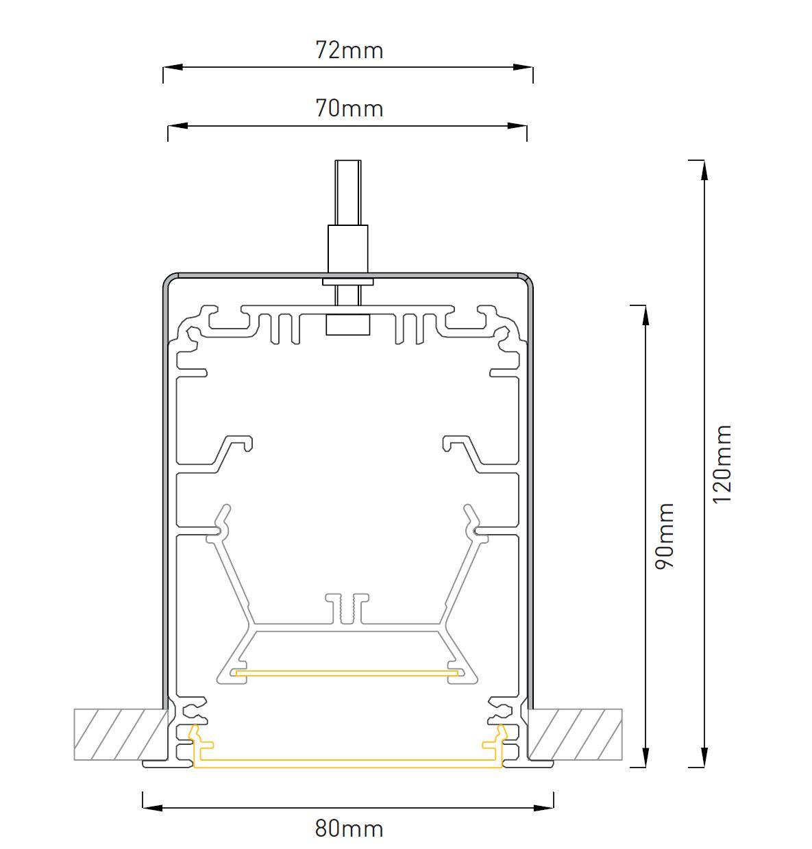 LED Profilleuchte Slot M LTE80 Abmessung