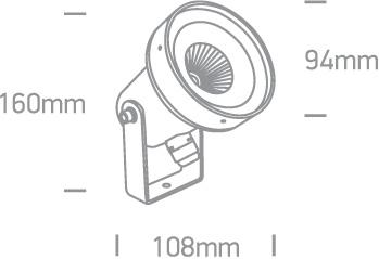 LED Spot Graso 67196B-AN-W IP65 Abmessungen SML LED