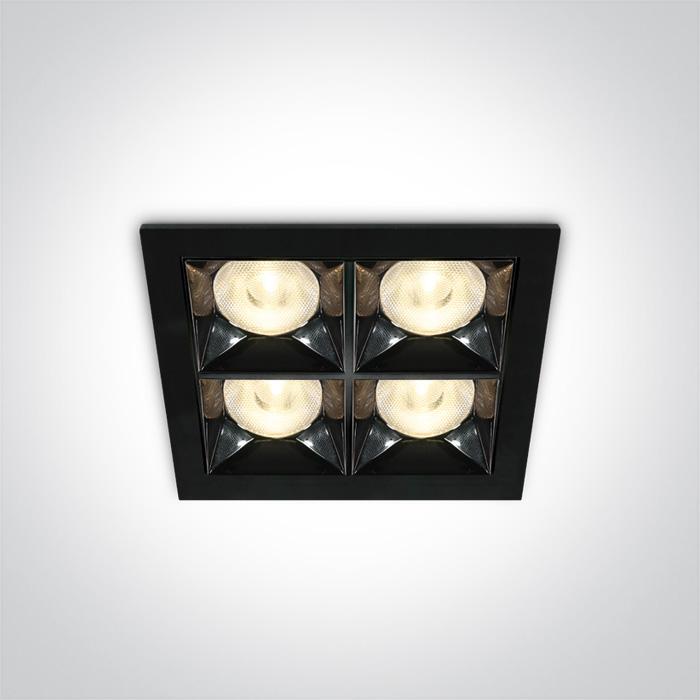 Quadratische Einbauleuchte Kolma 4 Module schwarz SML LED