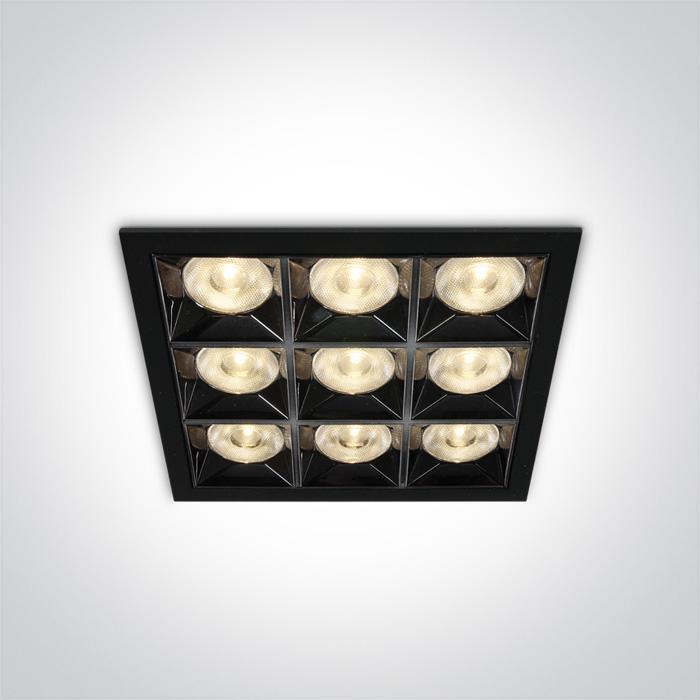 Quadratische Einbauleuchte Kolma 9 Module schwarz SML LED