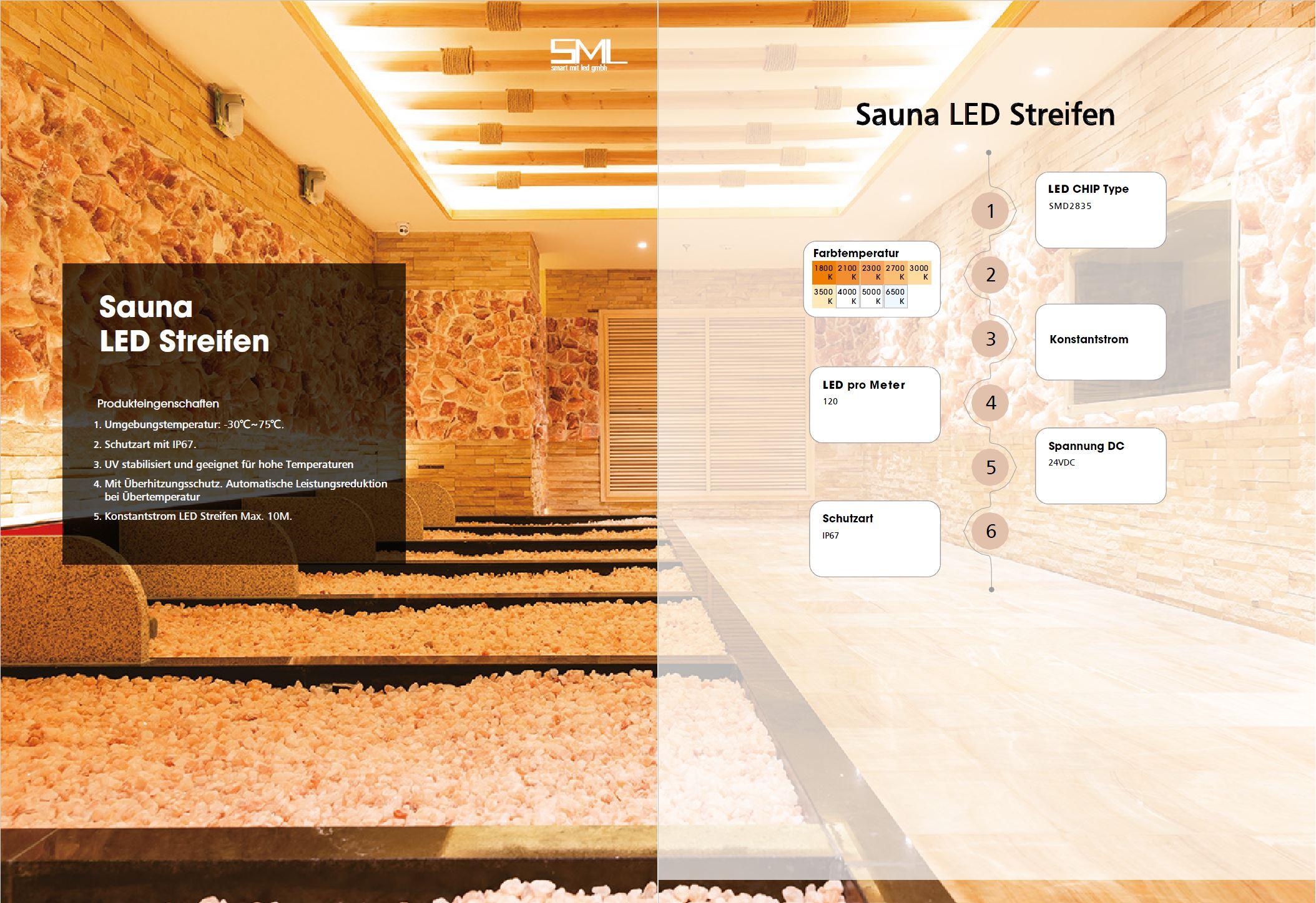 SML LED Streifen für Sauna. LED Strip für Sauna von SML LED