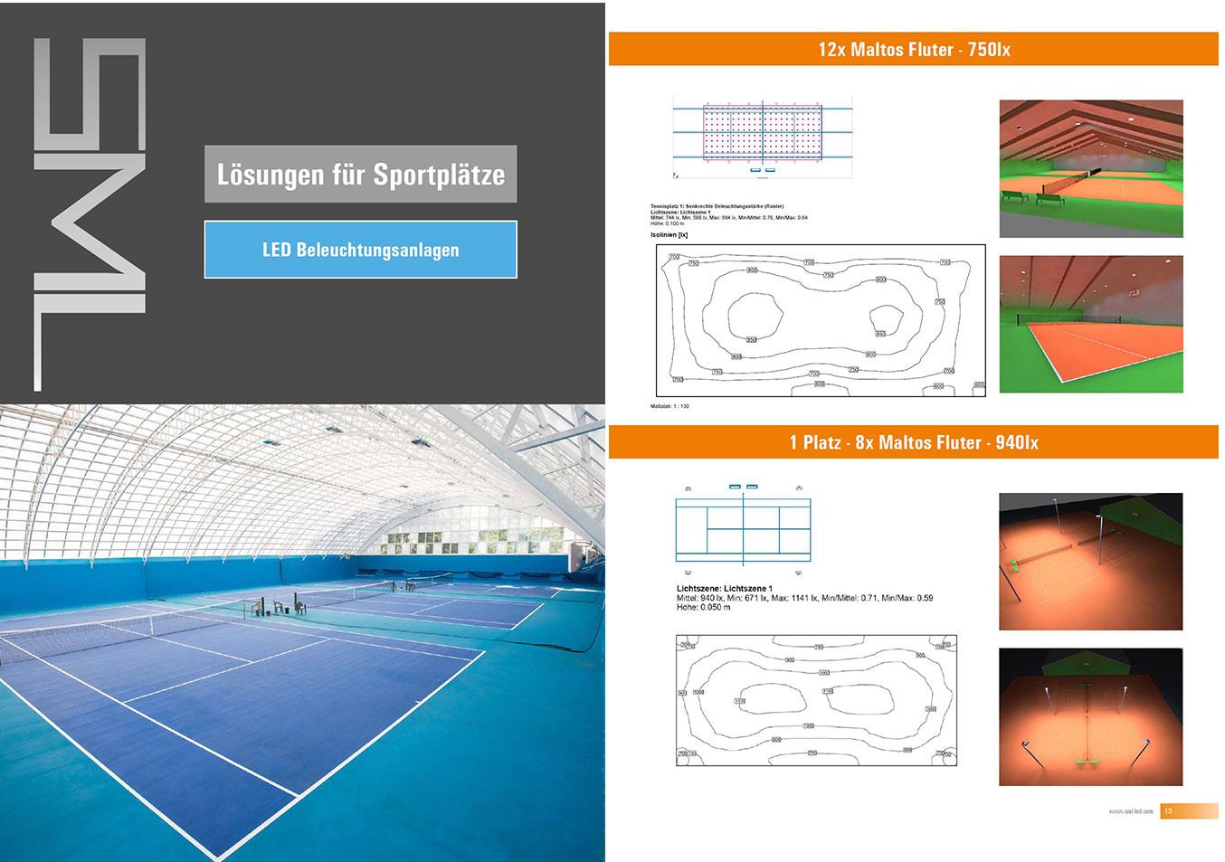 LED Flutlicht Tennisplatz und Tennishalle Flutlicht