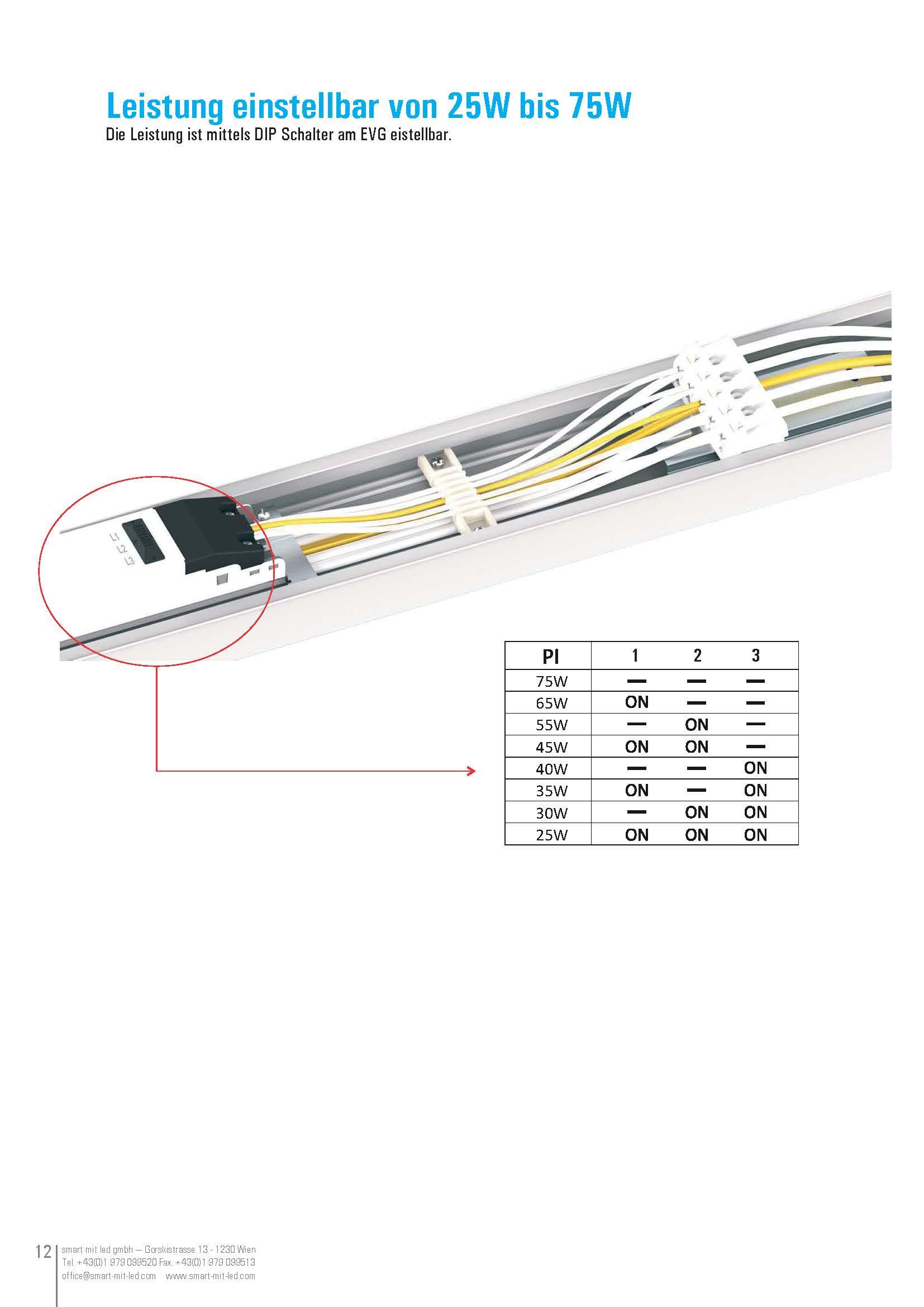 Leistung einstellbar von 25W bis 75W Die Leistung ist mittels DIP Schalter am EVG eistellbar.