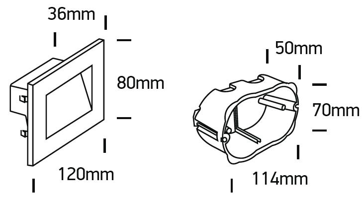 LED Wandeinbauleuchte Leila Abmessung 120mm